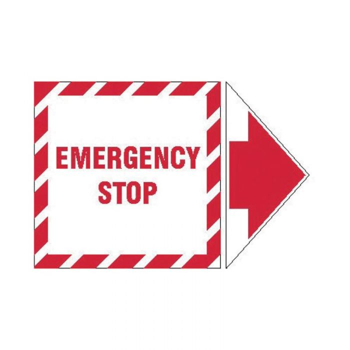 845321 Lockout Tagout Labels - Arrow Label Emergency Stop
