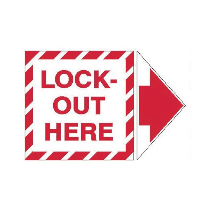 845323 Lockout Tagout Labels - Arrow Label Lock-Out Here