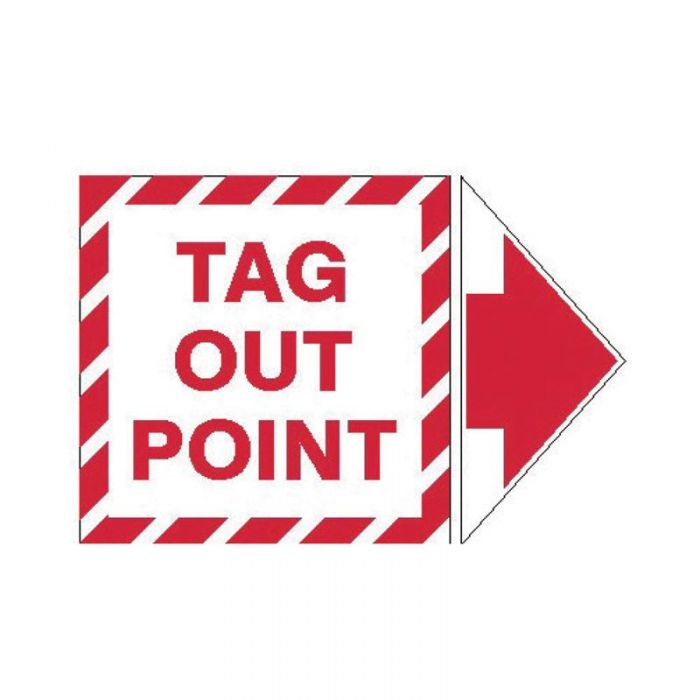 845334 Lockout Tagout Labels - Arrow Label Tag Out Point Pack