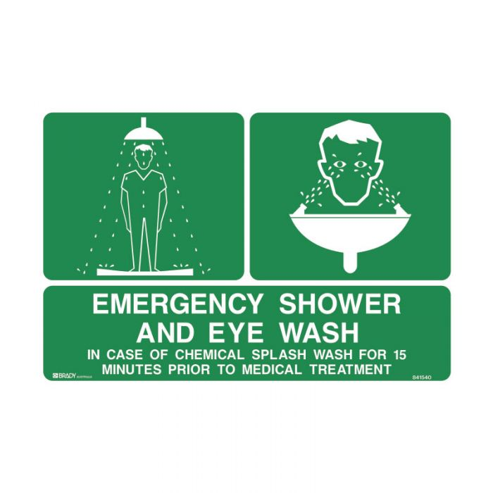 845696 Emergency Information Sign - Emergency Shower And Eye Wash..