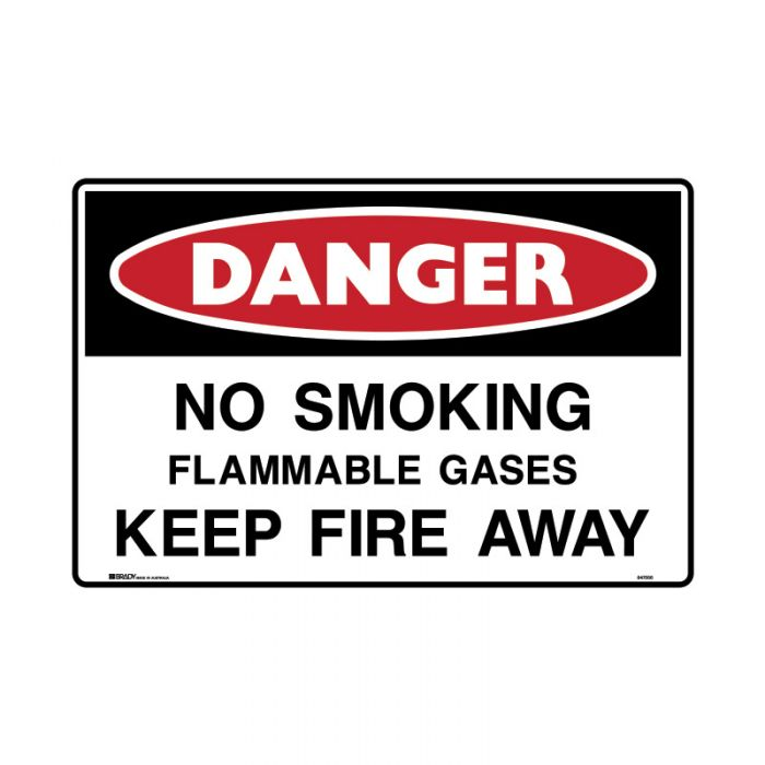 847566 Mining Site Sign - Danger No Smoking Flammable Gases Keep Fire Away