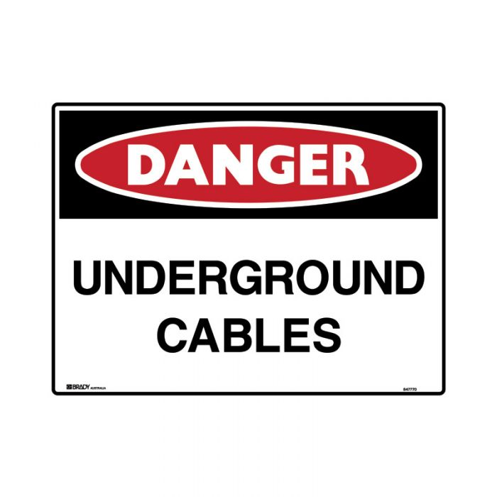 847772 Mining Site Sign - Danger Underground Cables