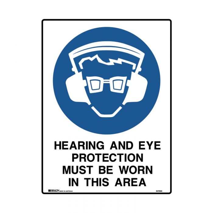 847987 Mining Site Sign - Hearing And Eye Protection Must Be Worn In This Area