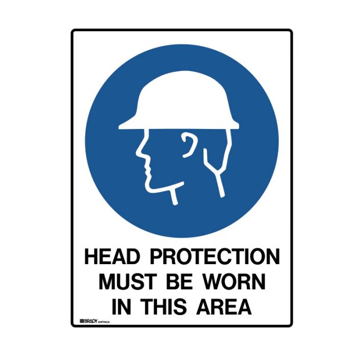 847992 Mining Site Sign - Head Protection Must Be Worn In This Area