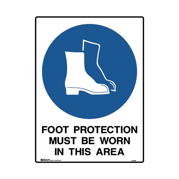 848001 Mining Site Sign - Foot Protection Must Be Worn In This Area