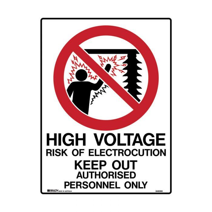 848091 Electrical Hazard Sign - High Voltage Risk Of Electric Shock