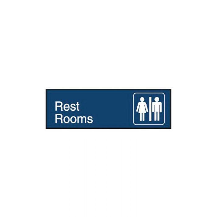 849131 Engraved Office Sign - Rest Rooms + Symbol