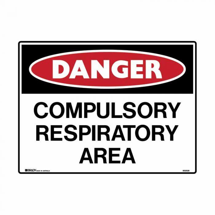 852531 Asbestos Sign - Danger Compulsory Respiratory Area