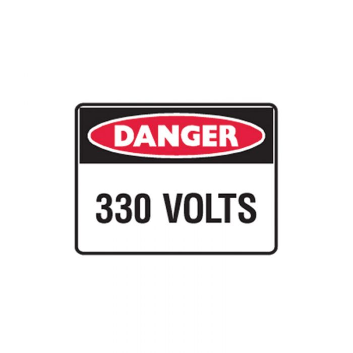 852606 Small Stick On Labels - Danger 330 Volts