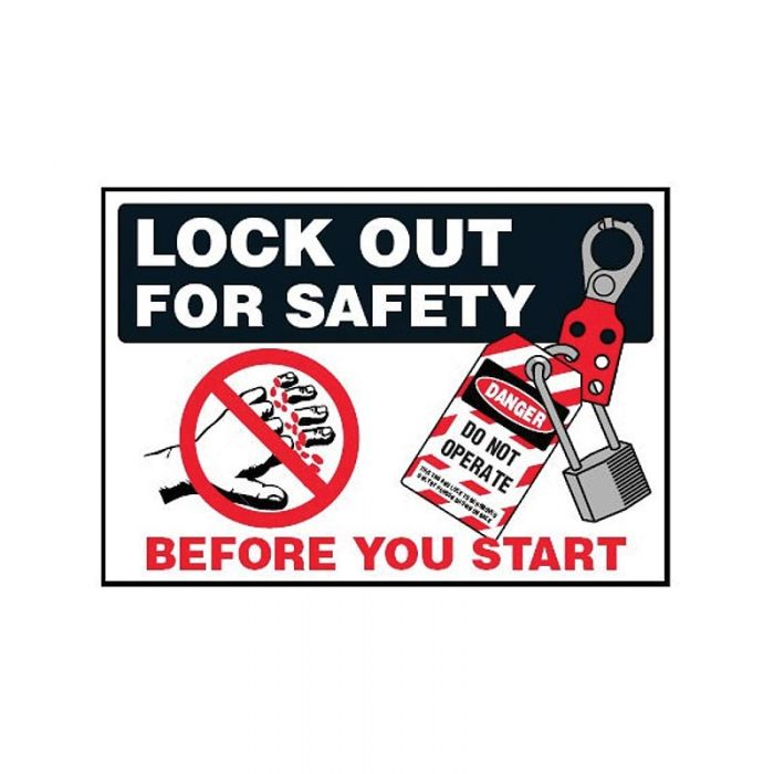 854235 Lockout Tagout Labels - Lock Out For Safety Before You Start Labels