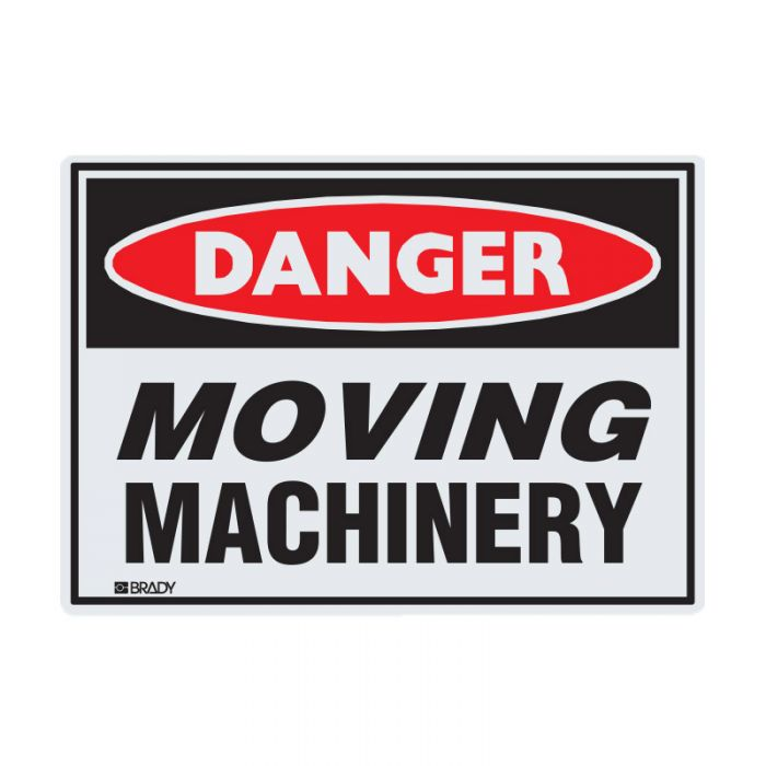 855005 Small Stick On Labels - Danger Moving Machinery