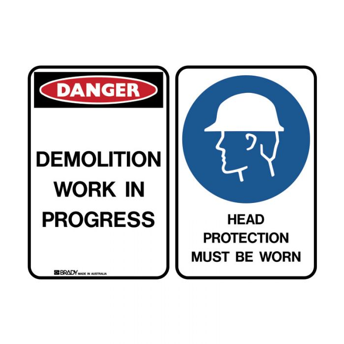 855551 Mutliple Message Sign - Demolition-Head Protection