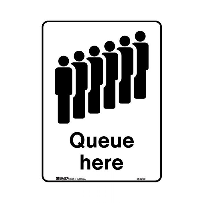 856270 Public Area Sign - Queue Here