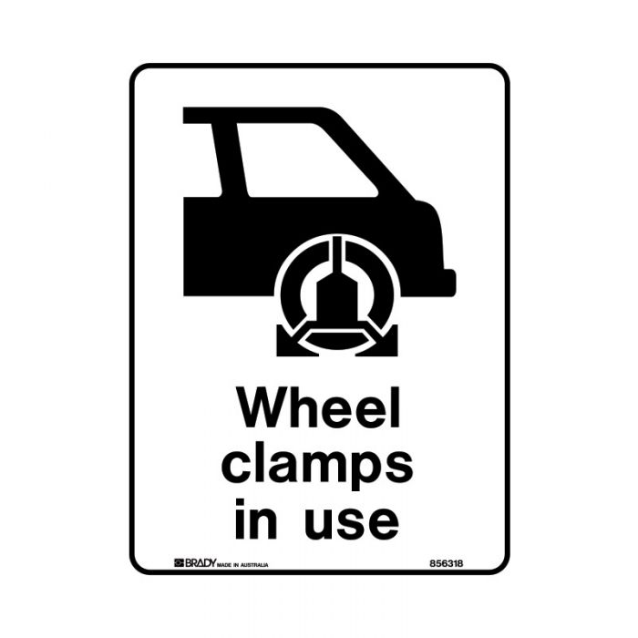 856320 Public Area Sign - Wheel Clamps In Use