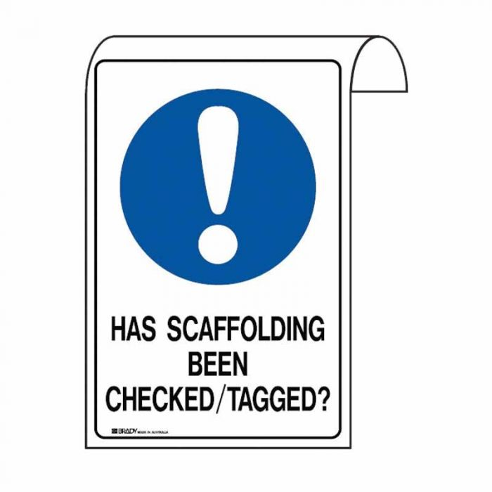 Scaffolding Sign - Has Scaffolding Been Checked/Tagged? (Polyethylene) H500mm x W300mm