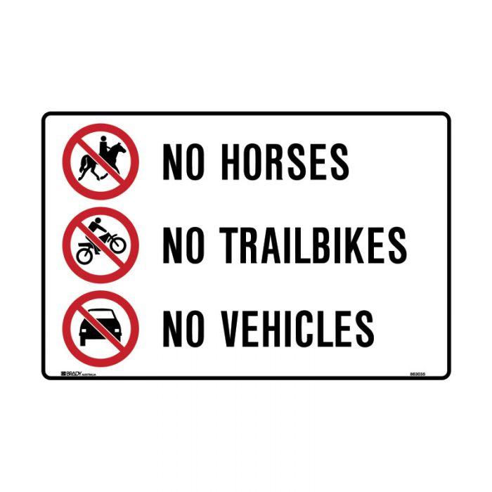 863035 Park Sign - No Horses No Trailbikes No Vehicles