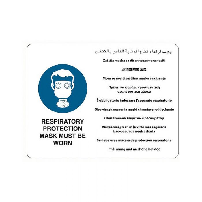 871566 Multilingual Sign - Respiratory Protection Must Be Worn