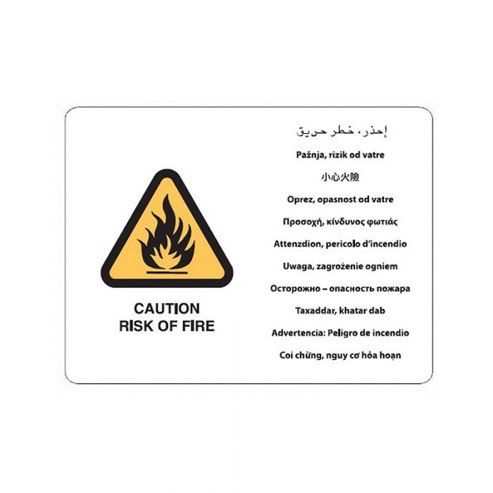 871646 Multilingual Sign - Caution Risk Of Fire