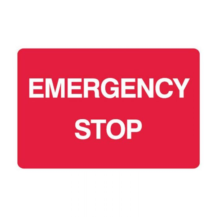 Emergency Information Sign - Emergency Stop (Metal) H225mm x W300mm