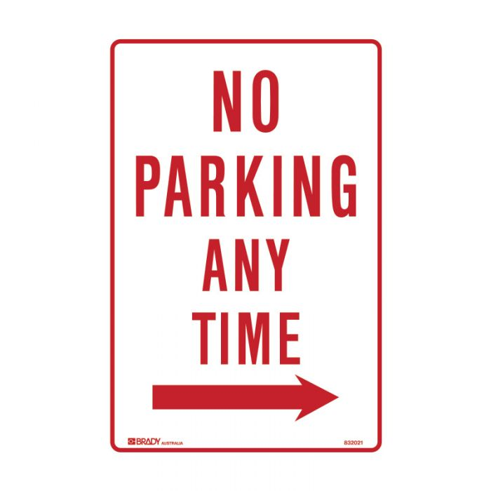 PF832017 Parking & No Parking Sign - No Parking Any Time Arrow Right