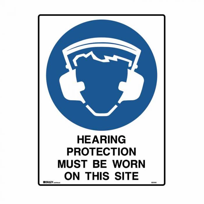 PF832432 Building & Construction Sign - Hearing Protection Must Be Worn On This Site