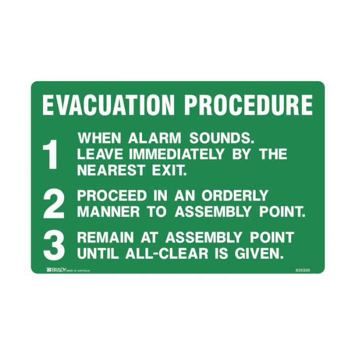 PF835335 Emergency Information Sign - Evacuation Procedure 123