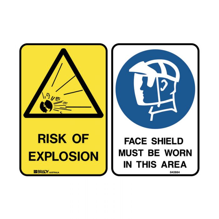 PF842879 Multiple Message Sign - Risk Of Explosion-Faceshield
