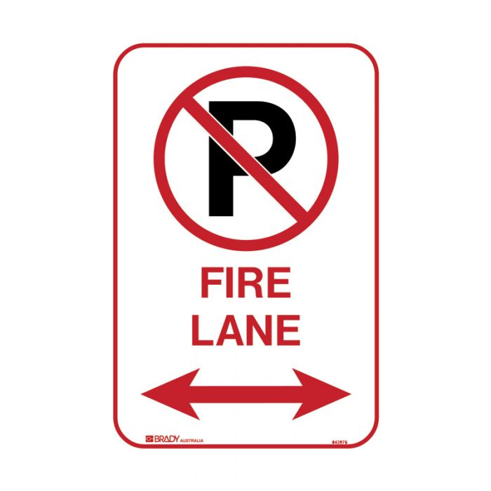 PF843976 Parking & No Parking Sign - No Parking Either Side Fire Lane