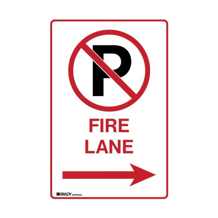 PF843980 Parking & No Parking Sign - No Parking Either Side Fire Lane with Right Arrow