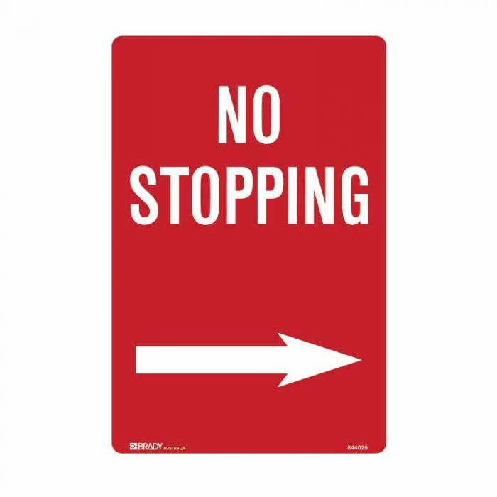 PF844025 No Standing Sign - No Stopping Arrow Right