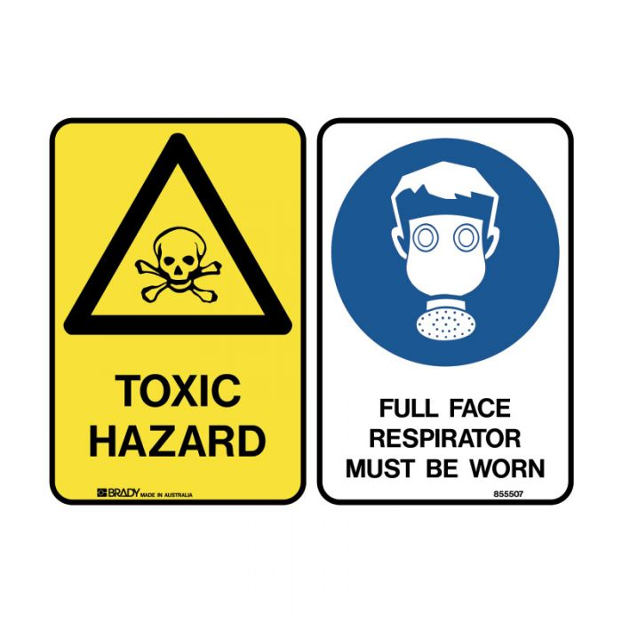 PF844353 Multiple Message Sign - Toxic-Face Respirator