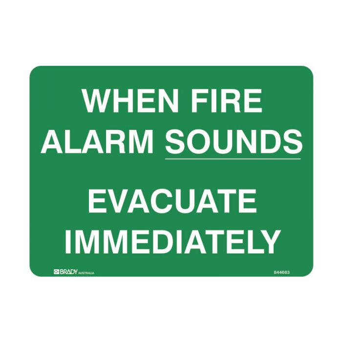 PF844686 Emergency Information Sign - When Fire Alarm Sounds Evacuate Immediately