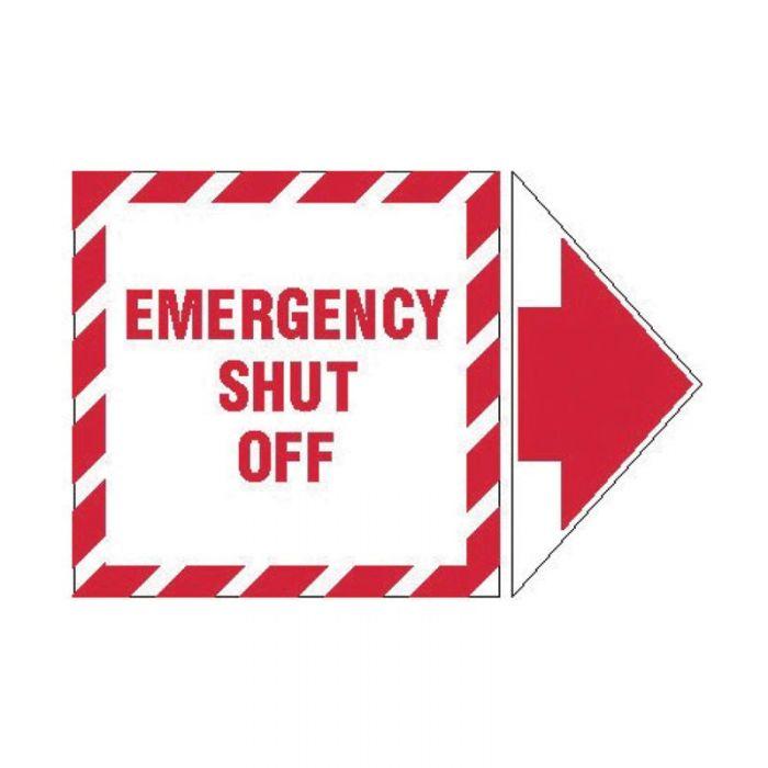 PF845333 Lockout Tagout Labels - Arrow Label Emergency Shut Off
