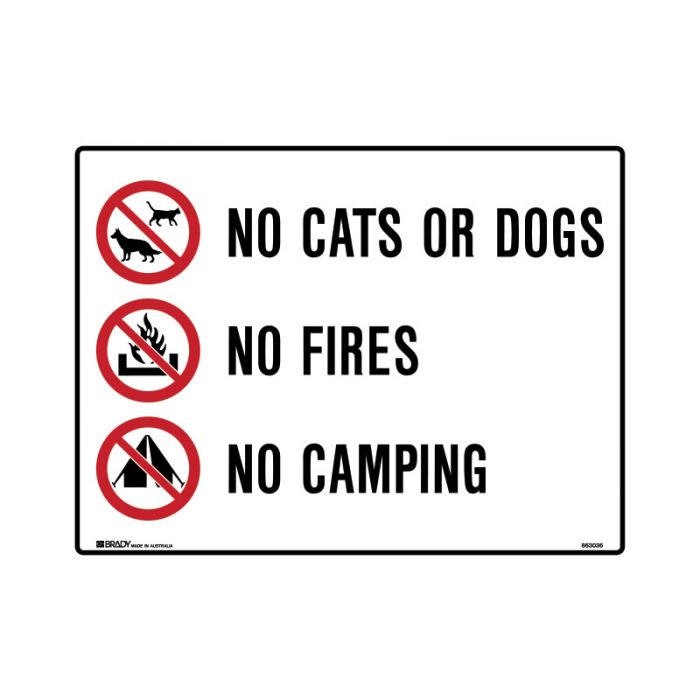 PF863036 Park Sign - No Cats Or Dogs No Fires No Camping
