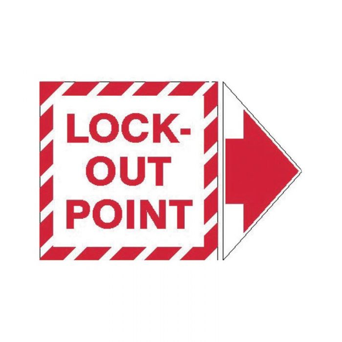 PF945325 Lockout Tagout Labels - Arrow Labels Lock-Out Point