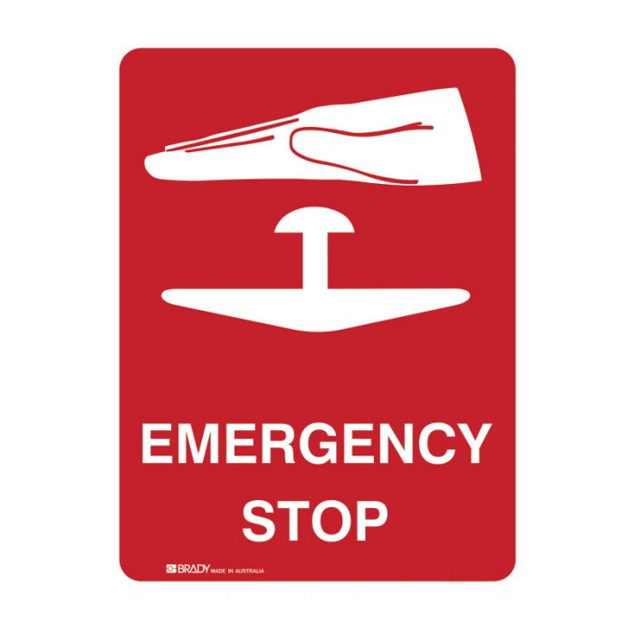 Emergency Information Sign - Emergency Stop (Self Adhesive Vinyl) H125mm x W90mm