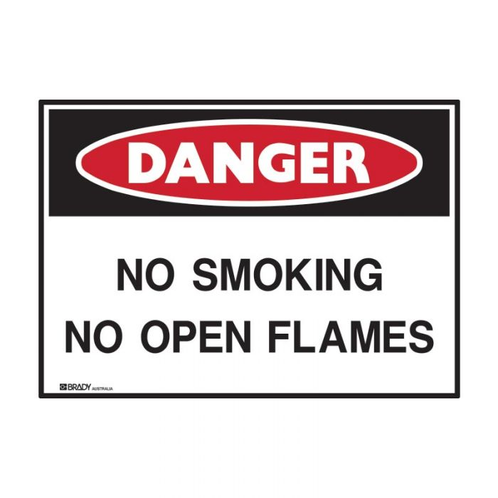 Small Stick On Labels - Danger No Smoking No Open Flames (Self Adhesive Vinyl) H90mm x W125mm