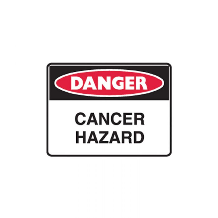 Small Stick On Labels - Danger Cancer Hazard (Self Adhesive Vinyl) H90mm x W125mm